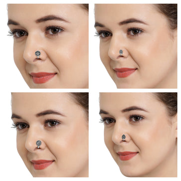 COMNR0919KLP48-AccessHer Oxidised Silver Alloy Tribal Nose Pin for Women - Pack of 4