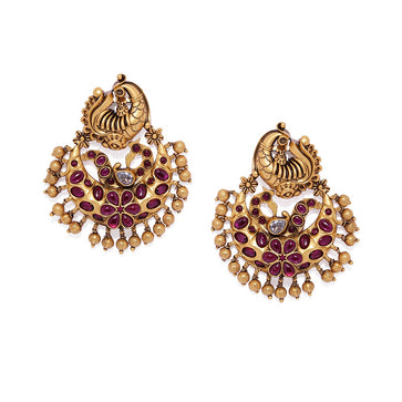 ER0120SR347GR-Gold plated Peacock Chandbali