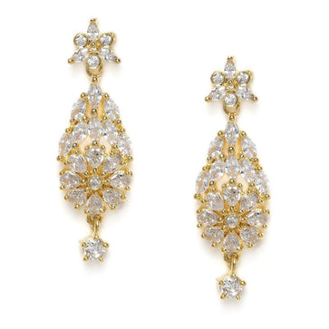 ER0121PCA73ER52P300GW -Gold-Plated AD Studded Handcrafted Drop Earrings