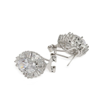 ER0121RRD20P390S -Silver-Plated CZ & AD Studded Handcrafted Drop Earrings