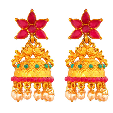 ER0218RM701GP -AccessHer Matte Gold with Ruby, Green Jhumki Earrings for Women