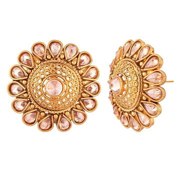 ER0417JS591STG -AccessHer Indian Traditional Antique Gold Rajwadi Kundan Stud Earrings - access-her