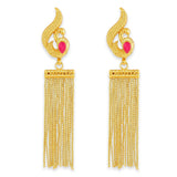 AccessHer Gold Color Brass Material Peacock Chain Tassel earrings