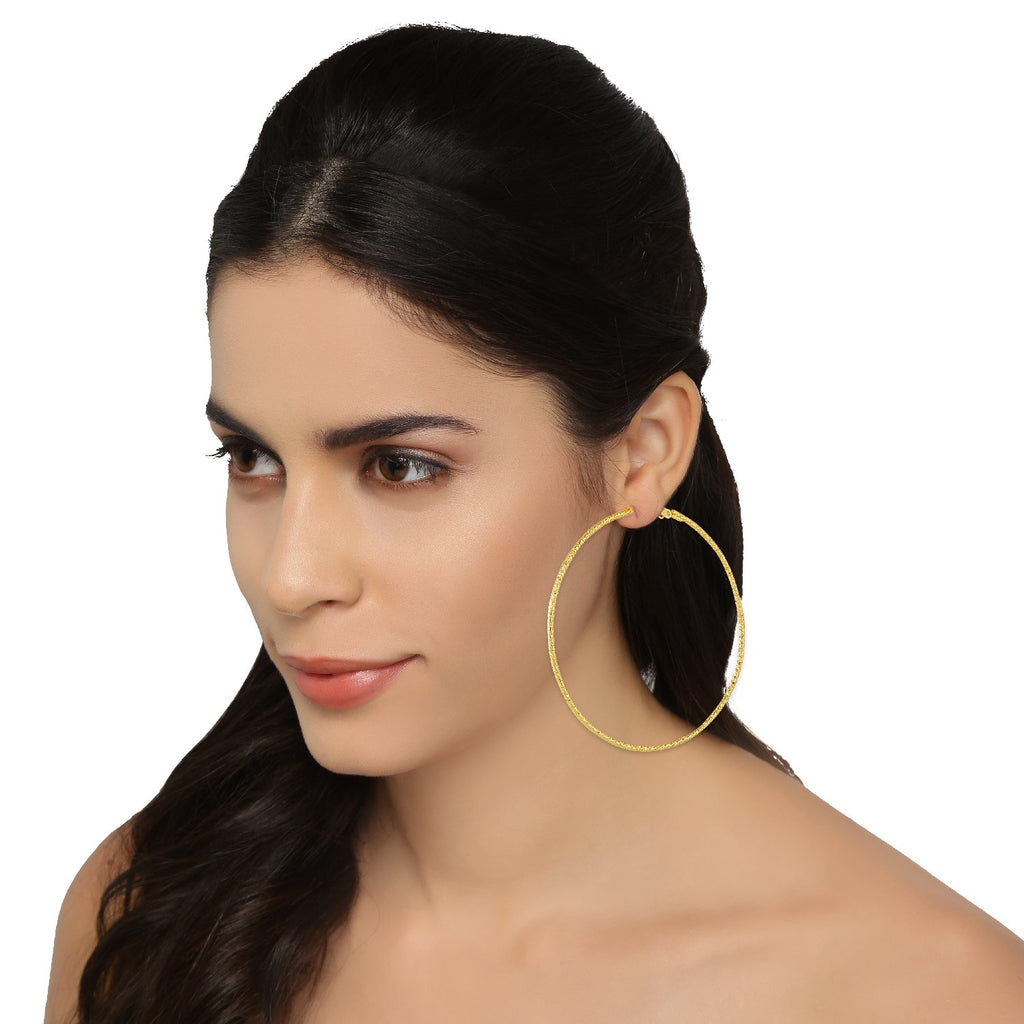 AccessHer Gold Color Brass Material Hoop earrings