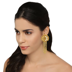 ER0518JY65G -AccessHer Gold Color Brass Material Chain tassel earrings - access-her
