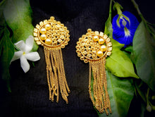 Load image into Gallery viewer, Gold Color Brass Material Chain tassel earrings