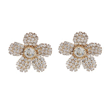 Load image into Gallery viewer, ER0617GC101GW-ACCESSHER Traditional Rhinestone Studded Flower Shaped Stud Earrings