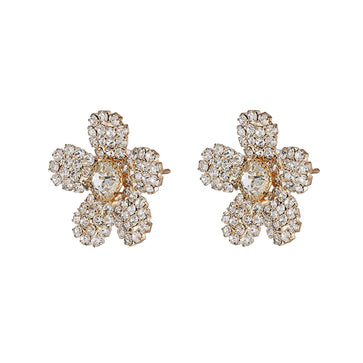 ER0617GC101GW-ACCESSHER Traditional Rhinestone Studded Flower Shaped Stud Earrings