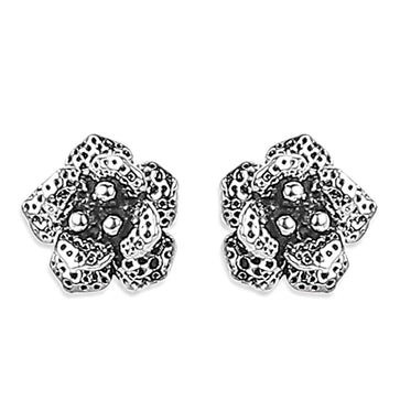 ER0619HP160S2-AccessHer 92.5/925 Sterling Silver Oxidised finish Rose stud earrings for women and girls