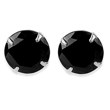 ER0619HP250SB-AccessHer 92.5/925 Sterling Silver Black stone stud earrings for women and girls