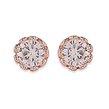 ER0619HP320RG-AccessHer 92.5/925 Sterling Silver Rose gold plated Classic Imperial Crown Stud earrings for women and girls