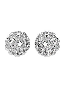 ER0619HP360S1-AccessHer 92.5/925 Sterling Silver American Diamond Classic Imperial Crown Stud earrings for women and girls