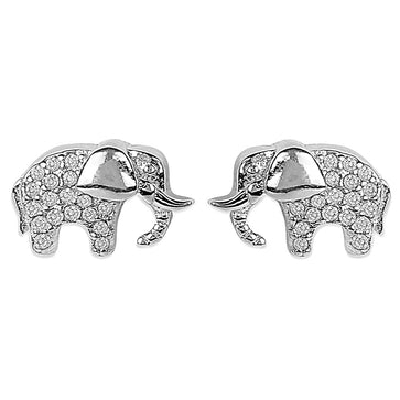 ER0619HP420S-AccessHer 92.5/925 Sterling Silver CZ elephant studs earrings for women and girls