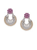 ER0818HS604SR -AccessHer German silver two tone chandbali earrings with ruby stones