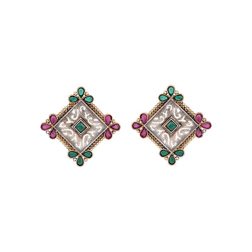 ER0919HS14PG-AccessHer High Quality Oxidised Silver Gold Stylish Brass Earrings for Women
