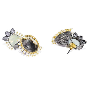 ER1118SP219S -AccessHer Black and gold Contemporary Jhumki earrings - access-her