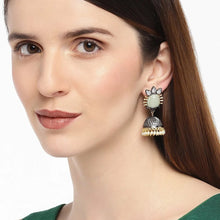 Load image into Gallery viewer, Black and gold Contemporary Jhumki earrings