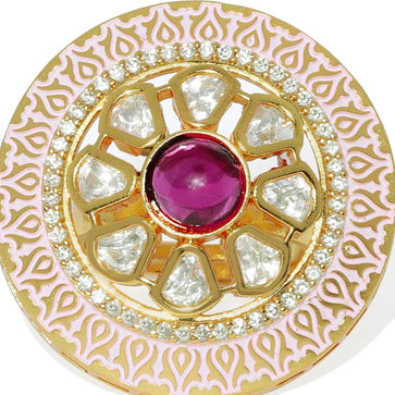 FR0219PJ21GP-Pink Enamel, Vilandi Kundan Cocktail Finger Ring