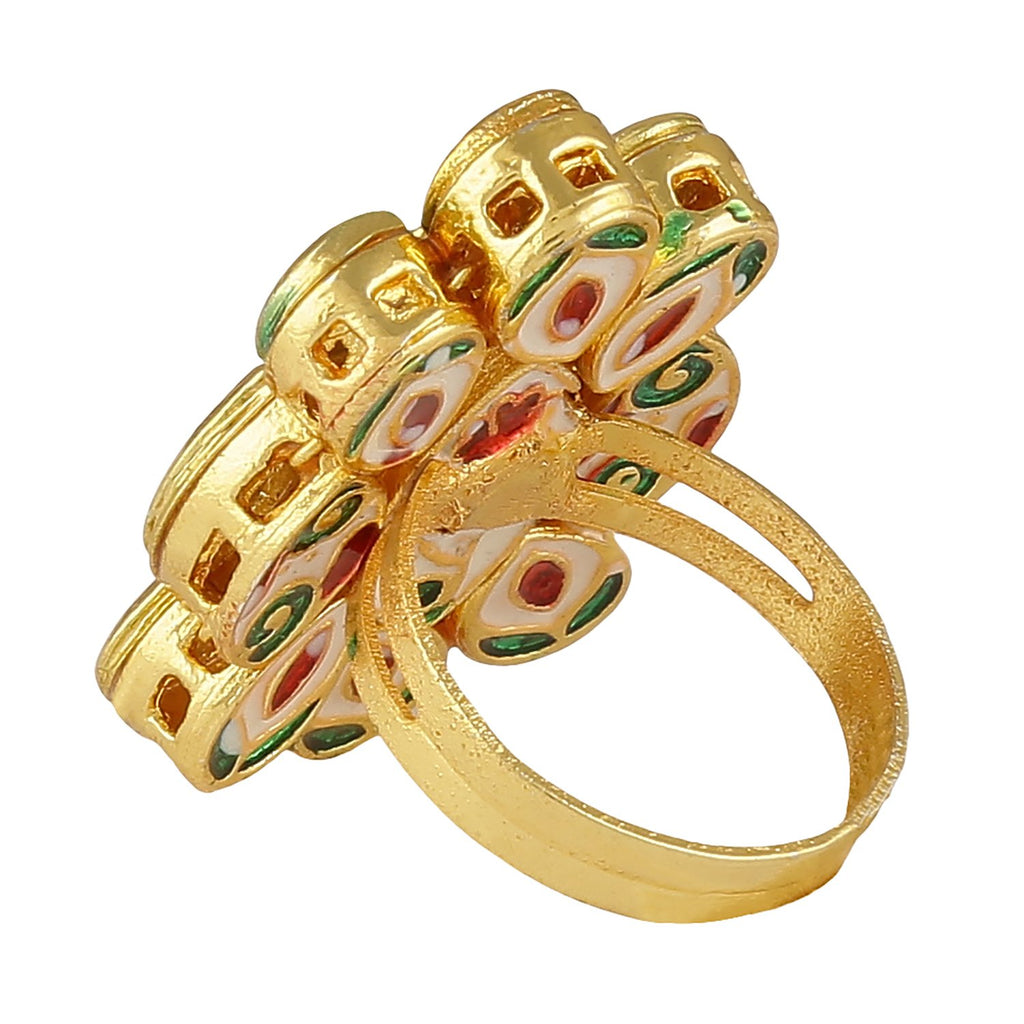 FR0318DP167P21G -AccessHer Gold Plated Vilandi Kundan Adjustable Finger Ring for women
