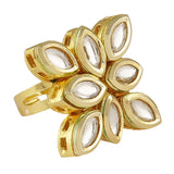 FR0318DP169P18GW -AccessHer Gold Plated Vilandi Kundan Adjustable Finger Ring for women