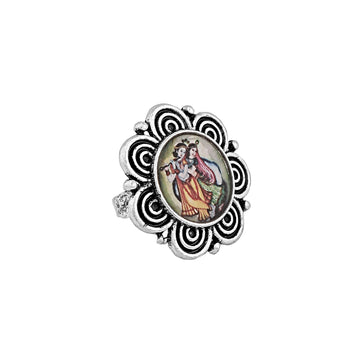 FR0919KL5P50-Accessher High Quality Oxidised Silver textured Radha Krishna Print Adjustable Finger Ring