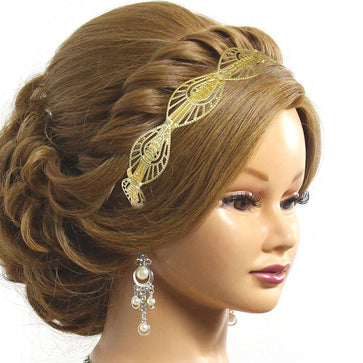 Gold Brass Embellished Party Wear Hair Band
