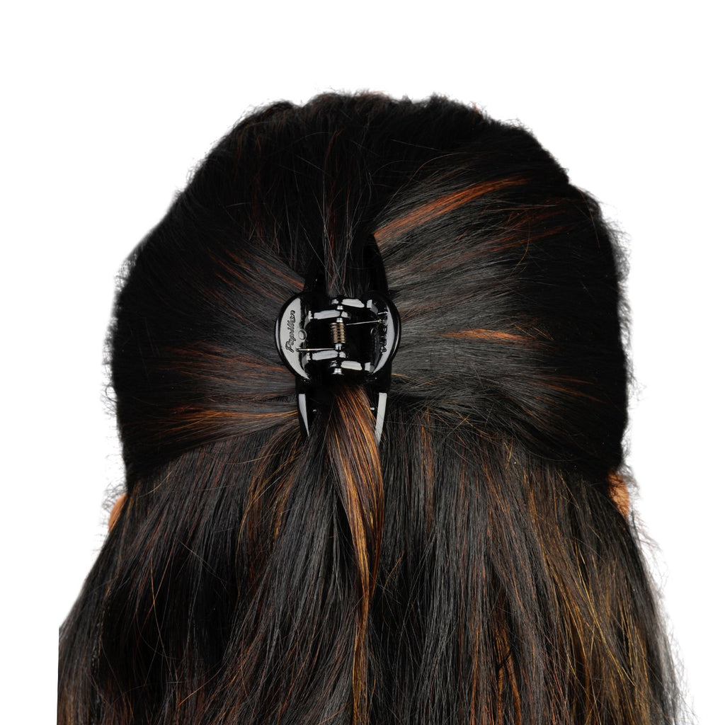 AccessHer Black Color Acrylic Material Stone Butterfly clip For Women/HP0518LP642B