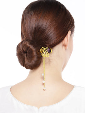 HS0619M12GP1-AccessHer Hairstick Embellished with Pearls and Purple Stone & Matt Gold Finish