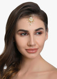 AccessHer Traditional White Jadau Kundan and Pearl Flower motif chaandbali style Maang  tika for women