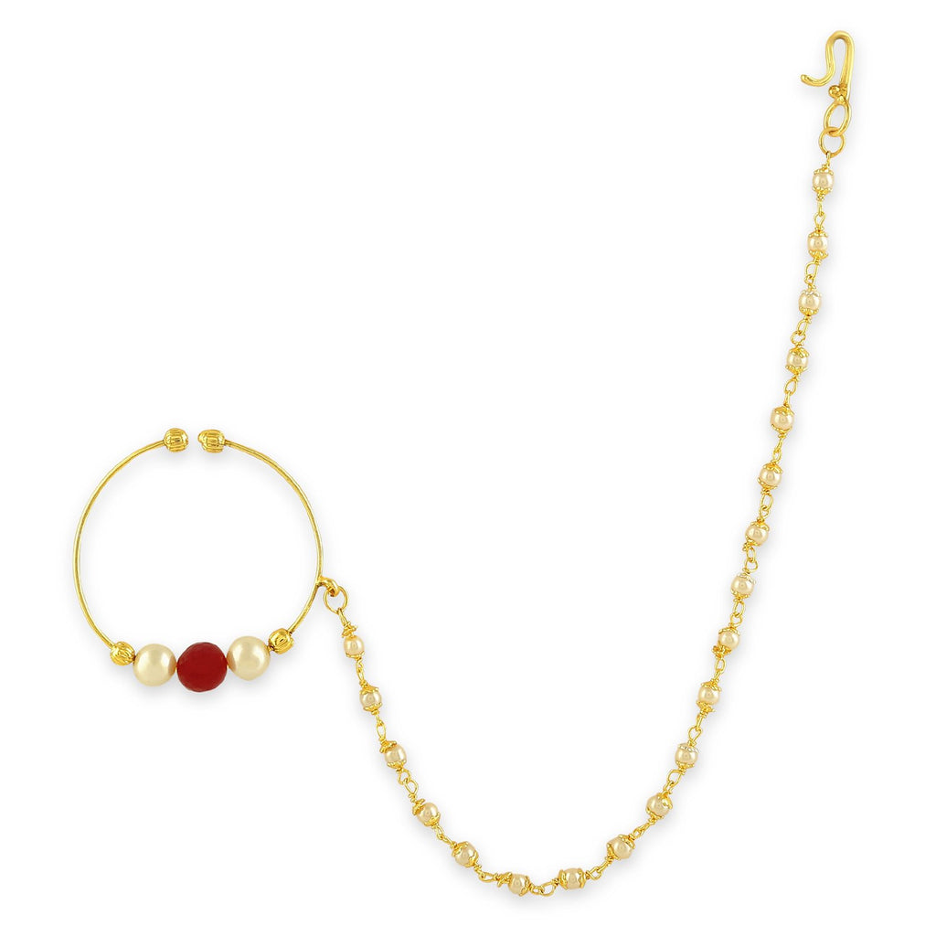 Nr0518sr75g Accessher Gold Color Copper Material Pearl Nose Ring With Chain