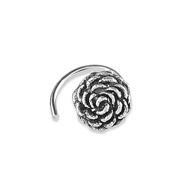 92.5/925 Sterling Silver Trendy oxidised rose nose pin