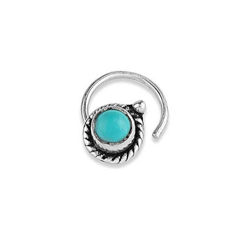 92.5- 925 sterling Silver Trendy Turquoise stone oxidised nose pin for womens and Girls