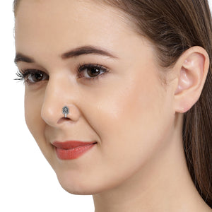 NR0919KL3P12-AccessHer Oxidised Silver Alloy Tribal Nose Pin for Women