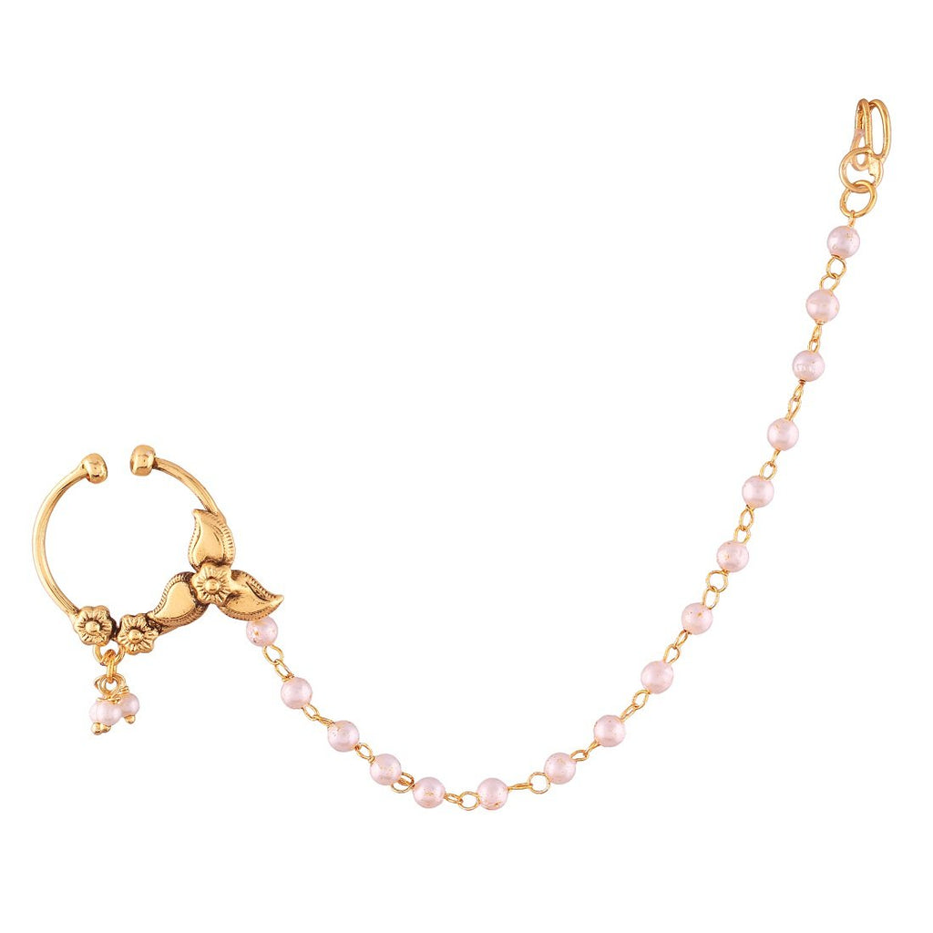 AccessHer Gold Plated Floral inspired traditional nosering with chain (nathni) for girls and women NR1117GC03GW