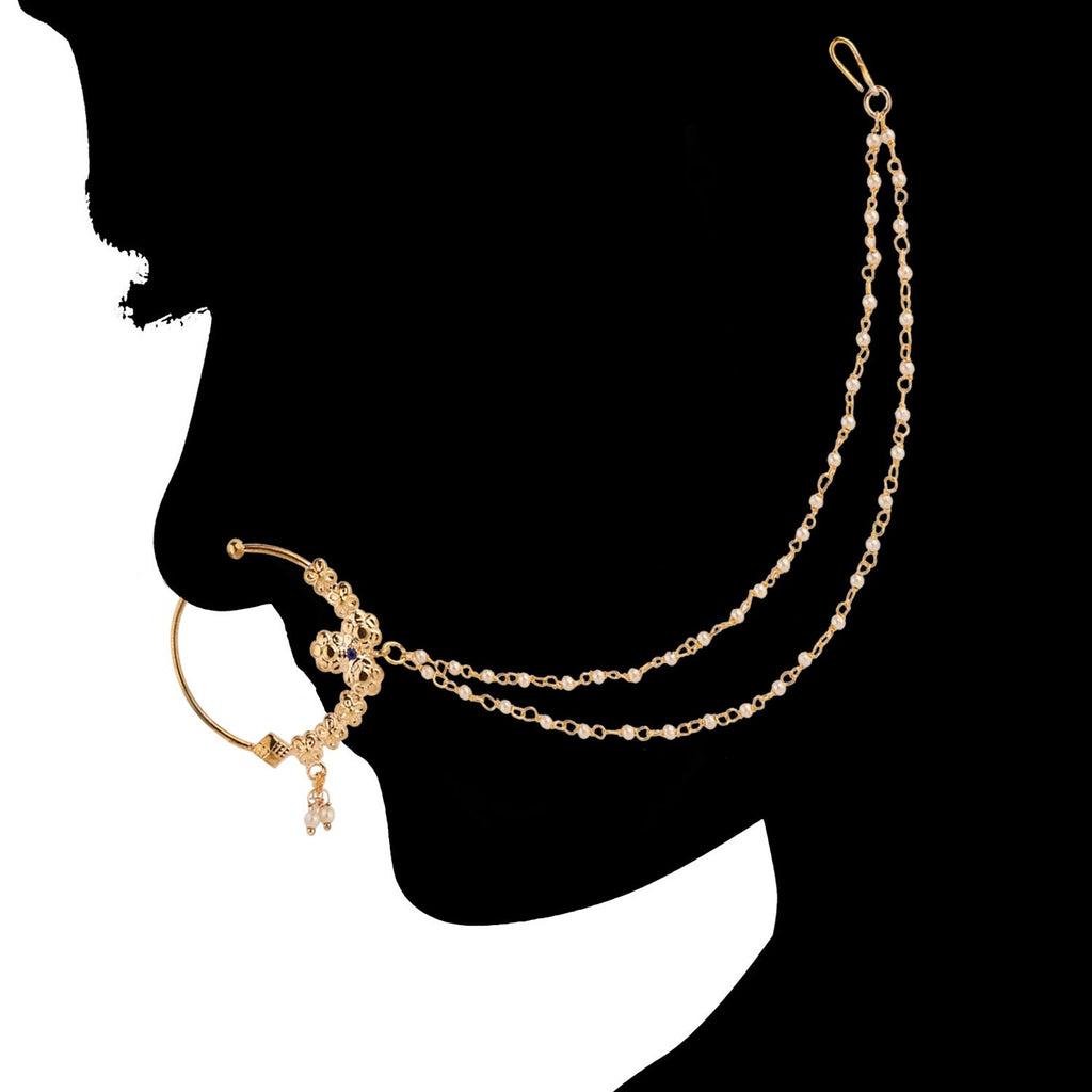 AccessHer Gold Plated Antique Glamorous Nosering with chain (Nathni) for girls and women NR1117GC05G