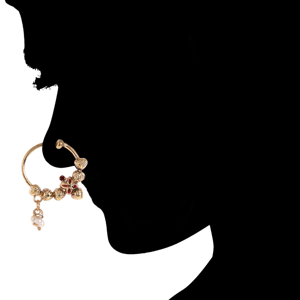 AccessHer Gold Plated Antique Traditional Nosering (nathni) for girls and women NR1117GC08GC