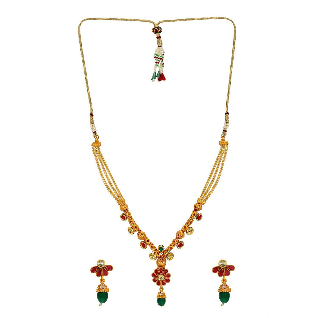 NS0118GC112GMULTI -AccessHer Royal Matte Finish Gold Plated Tradiional Necklace Set with American Diamond for women