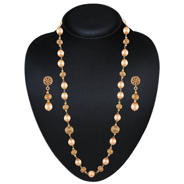 NS0118SR125G -AccessHer Traditional Ethnic Gold Plated Necklace Set with Pearls for women - access-her