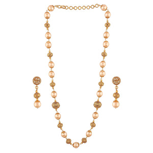 Traditional Ethnic Gold Plated Necklace Set with Pearls