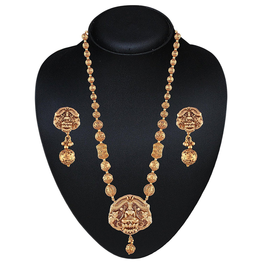 NS0118SR240G2 -AccessHer gold plated Lakshmi Temple necklace set with pearls for women