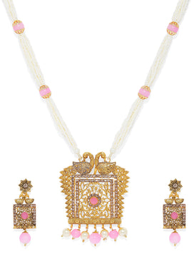 NS0120RR418GP-Gold toned Pearl jewellery set