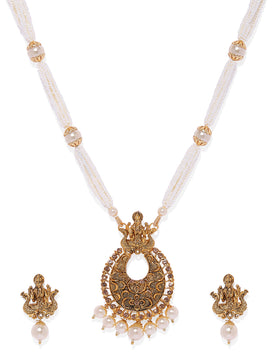 NS0120RR418GW1-Gold toned Pearl jewellery set