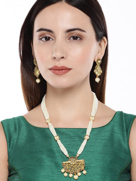 NS0120RR418GW-Gold toned Pearl jewellery set