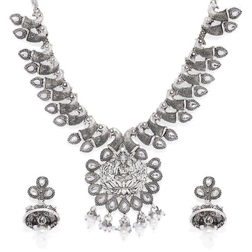 NS0120RR620W-Silver toned jewellery set