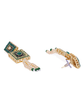 NS0120RR726GG-Gold tone Green Jewellery Set