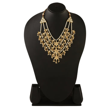 NS0318DP548P150GW -AccessHer White Three lada Party wear Hand Crafted Kundan with Pearl Necklace set for women - access-her