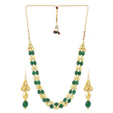 AccessHer Delicate Kundan Dholki Beads Necklace with Matching Dangle Drop Earrings/NS0418GC200GM