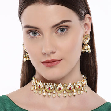 NS0519PJ111GR-AccessHer Antique Gold vilandi kundan and ruby choker set