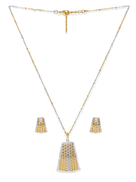 NS0619AB8SG4-AccessHer 22k Gold Plated CNC Necklace Set With Italian Jewellery