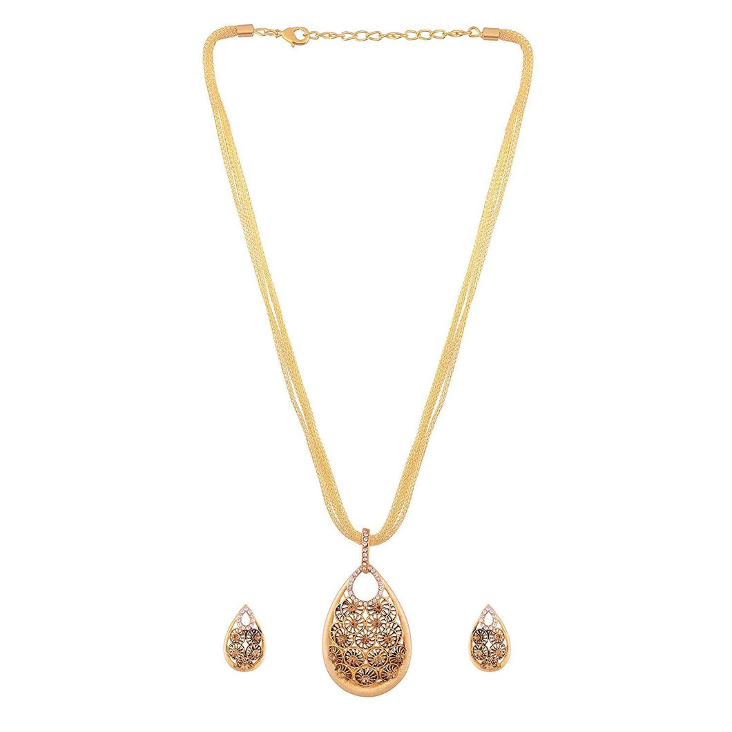 NS0917OR175195-AccessHer gold plated filigree flower shaped pendant set
